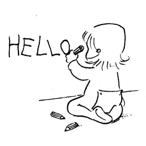 tampon Bébé qui écrit