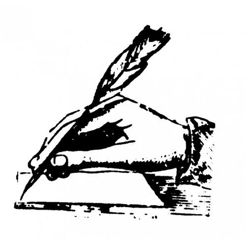 Tampon en bois Plume ancienne d'écritoire