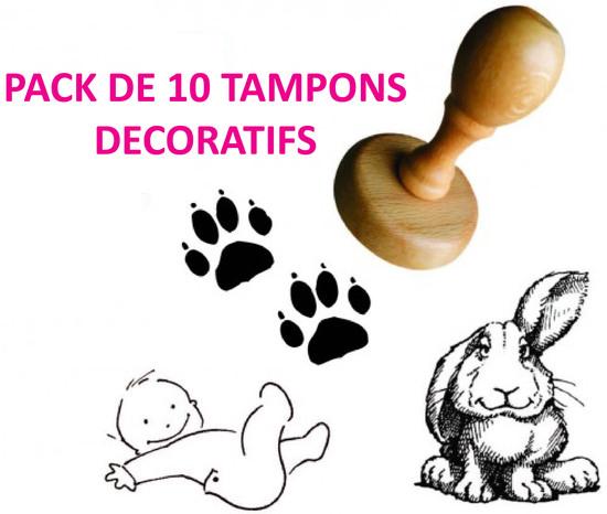 Pack de 10 tampons décoratifs