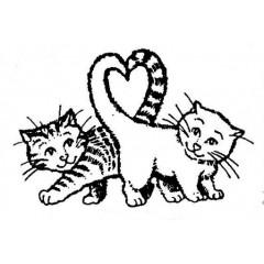 Tampon en bois Deux chatons amoureux