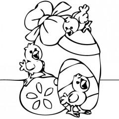 tampon Oeuf de Pâques avec poussins