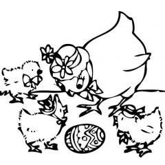 tampon Poule et poussins de Pâques