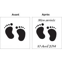 Tampon en bois Petits pieds personnalisé
