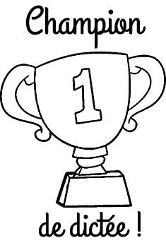 Tampon en bois Champion de dictée n°343