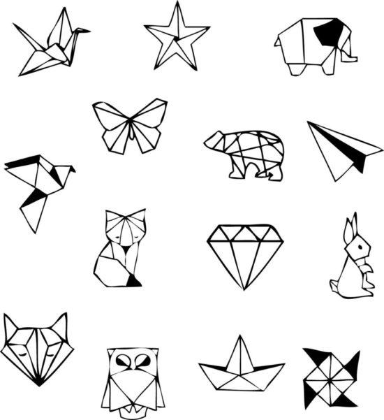 Tampons tatouages éphémères Origamis