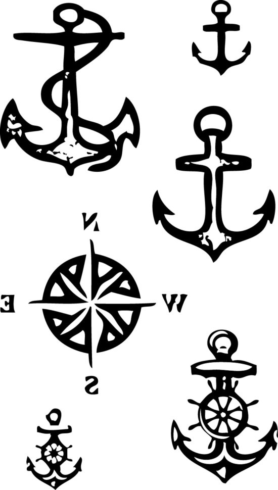 Tampons tatouages éphémères Ancres marines