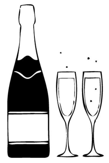 Tampon Champagne et flutes