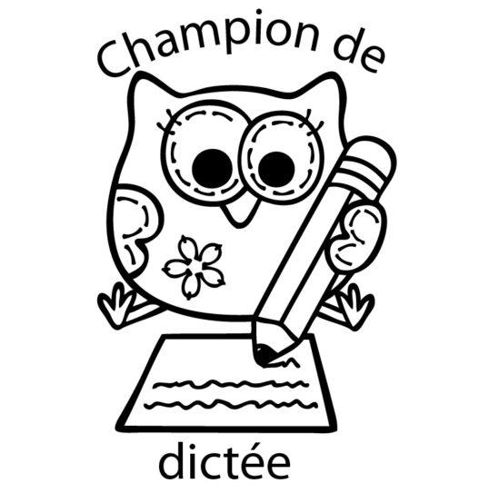 Tampon en bois Champion de dictée n°289