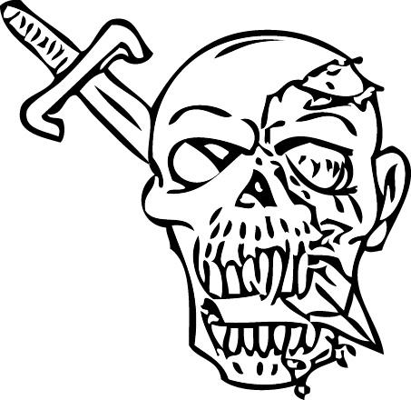 Tampon tatouage éphémère Tête et épée