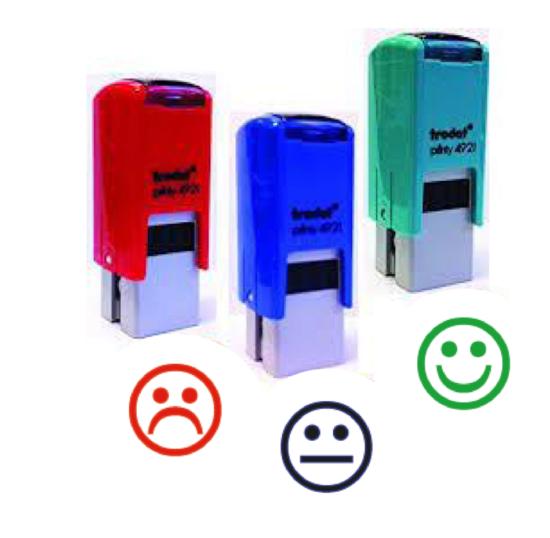 Pack 3 smileys Vert/Rouge/Bleu