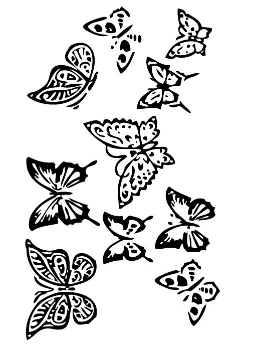 Lot tampons tatouages éphémères Papillons