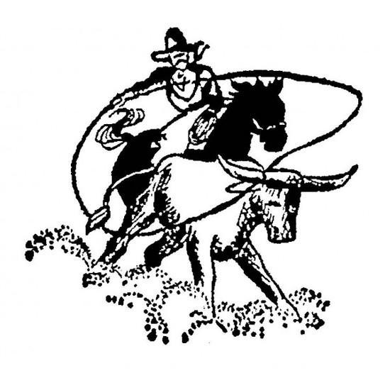 Tampon en bois Cow boy et lasso
