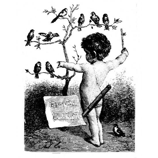 tampon Gravure ancienne : enfant à l'oiseau