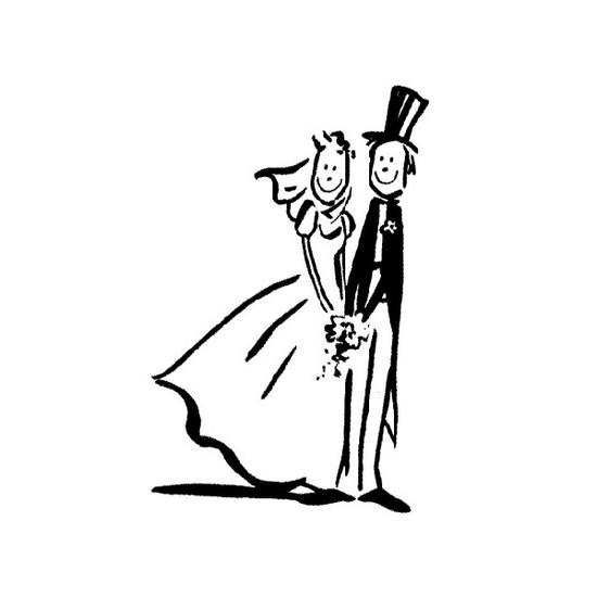 Tampon en bois Les mariés n°2