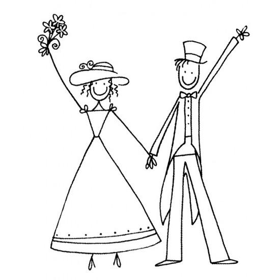 Tampon en bois Les mariés n°4
