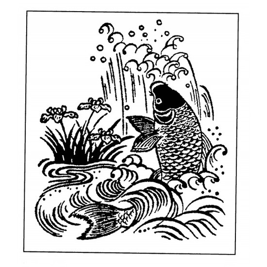 tampon Poisson estampe japonaise n°1