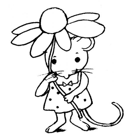 tampon Souris et fleur
