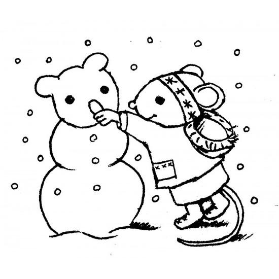 tampon Souris et bonhomme de neige