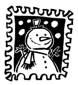 tampon Timbre bonhomme de neige