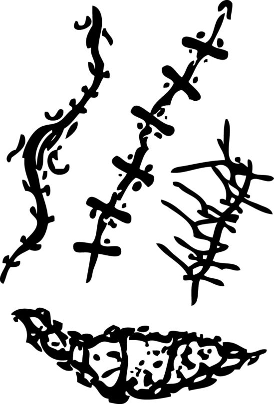 Tampons tatouages éphémères Cicatrices n°1