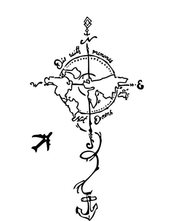 Tampon tatouage éphémère Planisphère avion