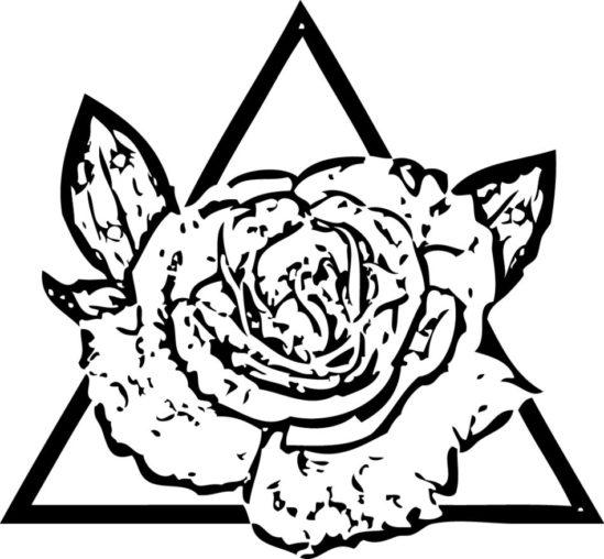 Tampon tatouage éphémère Rose dans triangle